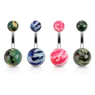 Camo Style Acrylic Belly Ring