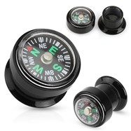Pair Of Real Compass Inlayed Black Acrylic Screw Fit Plugs