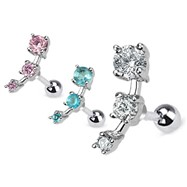 Triple CZ Droplet Tragus/Cartilage Piercing Stud Surgical Steel