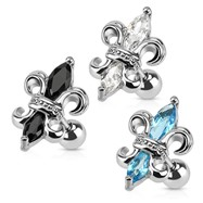 Fleur De Lis Surgical Steel Cartilage/Tragus Barbell