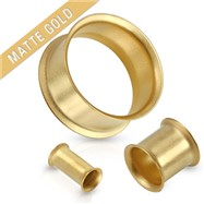 Pair Of Double Flared Tunnel Matte Gold IP Over 316L Surgical Steel Plugs