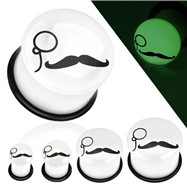 Pair Of Mustache Monocle Glow In The Dark Acrylic Plugs