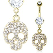 Multi Paved Gems Skull Dangle 14Kt Gold Tone Navel Ring