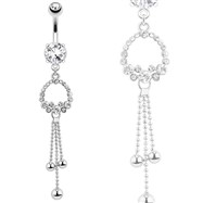 Ring Of Gems with Drop Down Chandelier Orbs Steel Navel Ring
