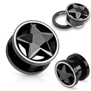 Black CZ Star Inside Of Black Screw Fit Tunnels with White Rim