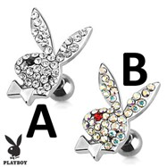 Playboy Bunny with Multi Paved Gems Surgical Steel Cartilage/Tragus Barbell