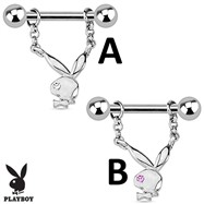 Pair Of Playboy Bunny with Single Gem Dangle Steel Nipple Bars