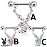 Pair Of Playboy Bunny with Multi Paved Gems Dangle Steel Nipple Bars