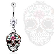 Surgical Steel Gemmed Navel Ring Sugar Skull Dangle