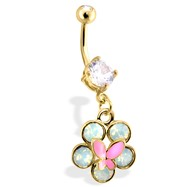 Gold Tone Belly Ring with Dangling Flower And Butterfly