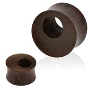 Pair Of Tamarind Wood Offset Eyelet Tunnel Double Flared Saddle Fit Organic Plugs