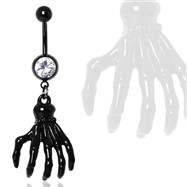 Black Zombie Claw Gemmed Navel Ring