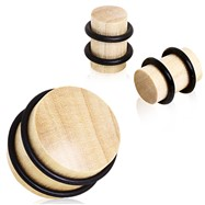 Pair Of Crocodile Wood Solid Plugs with O-Rings