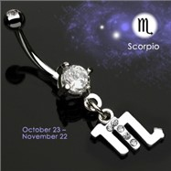 Navel Ring with Dangling Jeweled Scorpio Sign