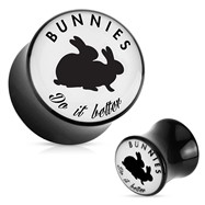 "Pair Of ""Bunnies Do It Better"" Playboy Exclusive Pattern Black Acrylic Saddle Plugs"