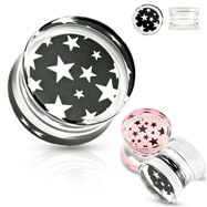 Pair Of Pink Star Pattern Print Encased Clear Acrylic Saddle Fit Plugs