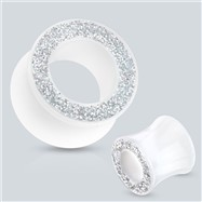 Pair Of Glittery Rim Solid White Acrylic Saddle Fit Tunnels