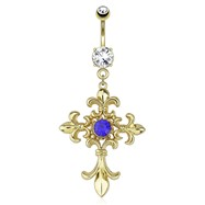 Fleur De Lis Cross with Centered Blue Gem Dangle Gold Tone Navel Ring