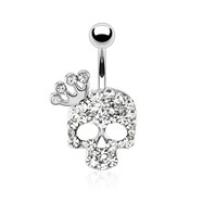 Skull with Paved Gem And Gemmed Four Point Crown Surgical Steel Navel Ring