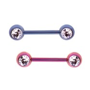 Front Facing Gem Nipple Bar - Single Or Pair
