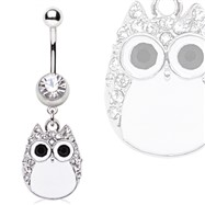 Surgical Steel White Owl Navel Ring