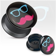 Pair Of Shades And Mustache Print Black Acrylic Flat Screw Fit Plugs