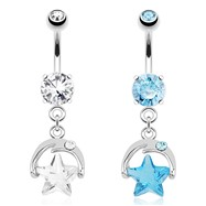 Smiling Crescent Moon with CZ Eye And Star Gem Dangle Surgical Steel Navel Ring