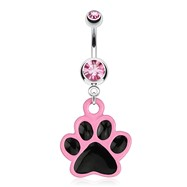 Paw with Black Enamel Plating And Pink Outline Dangle Surgical Steel Navel Ring