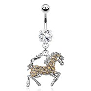 Horse with Peach Tone Paved Gems Dangle Surgical Steel Navel Ring
