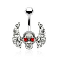 Skull with Red Gem Eyes And Angel Wings Surgical Steel Navel Ring