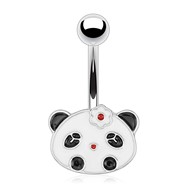 Panda Face with Flower Hair Pin Surgical Steel Navel Ring