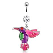 Hummingbird with Multi Color Plating And Red CZ Eye Dangle Surgical Steel Navel Ring