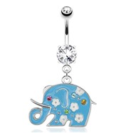 Decorative Elephant with Sky Blue Enamel Plating Dangle Surgical Steel Navel Ring