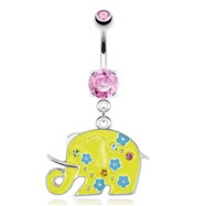 Decorative Elephant with Yellow Enamel Plating Dangle Surgical Steel Navel Ring