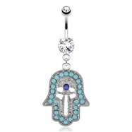 Hamsa with Paved TurquoiseAnd Blue Center CZ Dangle Surgical Steel Navel Ring