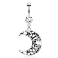 Crescent Moon with Weaving Pattern Dangle Surgical Steel Navel Ring