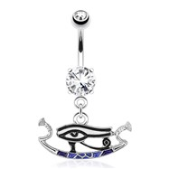 Eye Of Horus with Enamel Plating Dangle Surgical Steel Navel Ring