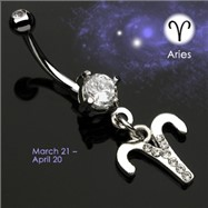 Navel Ring with Dangling Jeweled Aries Sign