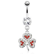Clover Leaf with Red And Clear Paved Gems Dangle Surgical Steel Navel Ring