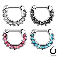 Gem Paved Surgical Steel Septum Clicker Ring