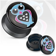 Pair Of Love Owl Print Black Acrylic Flat Screw Fit Plugs