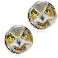 Pair Of Owl Print Encased Clear Acrylic Saddle Fit Plugs