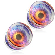 Pair Of Eyeball Print Encased Clear Acrylic Saddle Fit Plugs