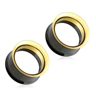 Pair Of Black And Gold Surgical Steel Screw Fit Double Flared Tunnels