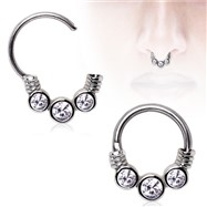 Surgical Steel Gemmed Trio Septum Clicker