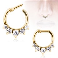 Gold Tone Gemmed Princess Septum Clicker