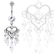 Surgical Steel Gemmed Chandelier Heart Dangle Navel Ring
