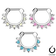 Single Line Pronged Gems Surgical Steel Septum Clicker