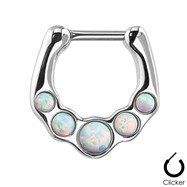 Five Opalite Gems Surgical Steel Septum Clicker Ring
