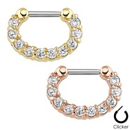 Single Line Paved Gem Surgical Steel Septum Clicker